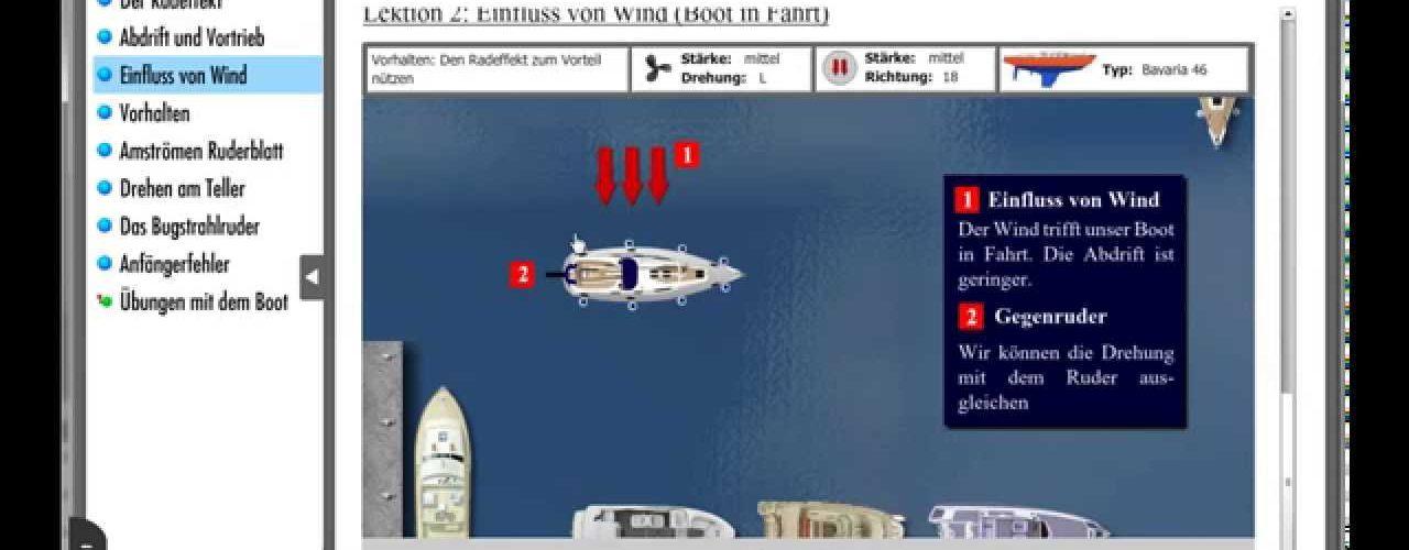 Lektion Hafenmanöver – Einfluß von Wind